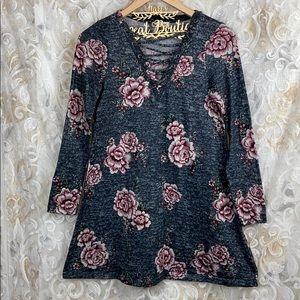 About a girl Floral Grey Strappy Long sleeve dress